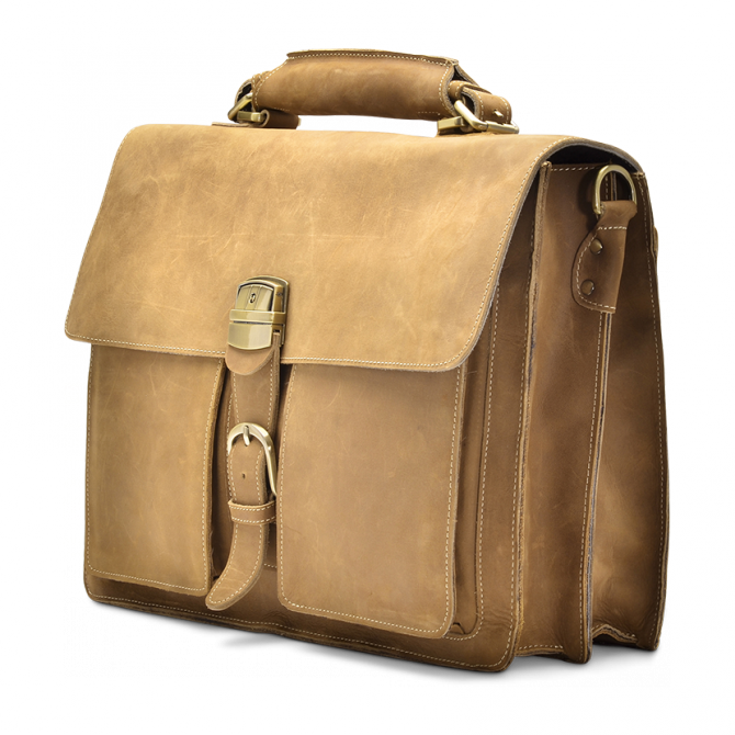 TAN TWO-POCKET BRIEFCASE MYKEL. - 2