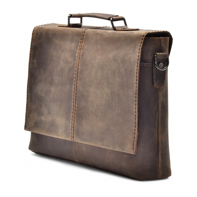 DARK WALNUT MESSENGER BAG WENDEL. - 2