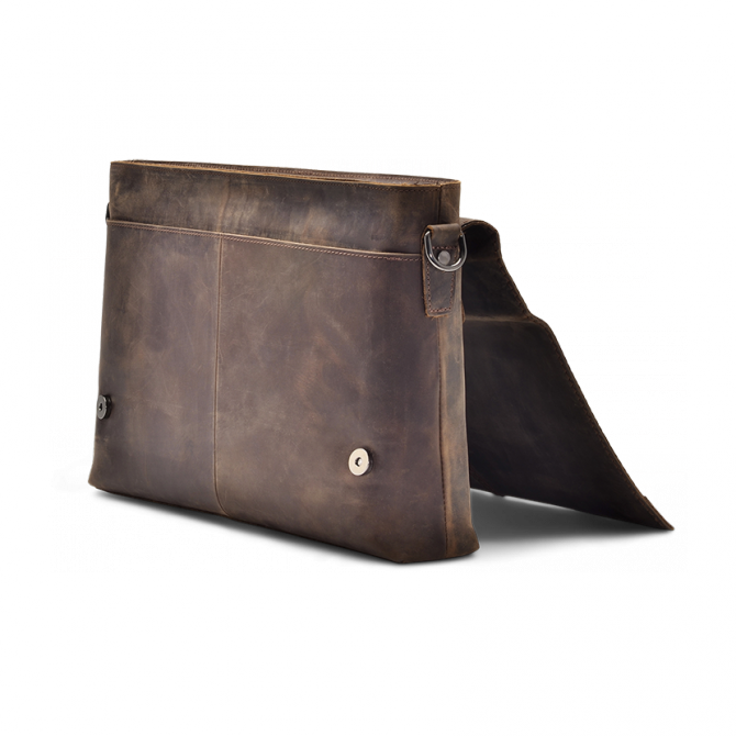 DARK WALNUT MESSENGER BAG WENDEL. - 3