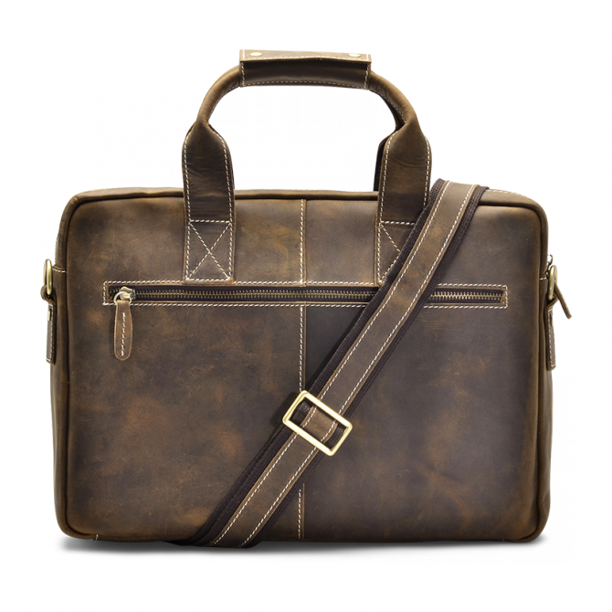 WALNUT TOP-LOADER BRIEFCASE MAKSIM. - 3