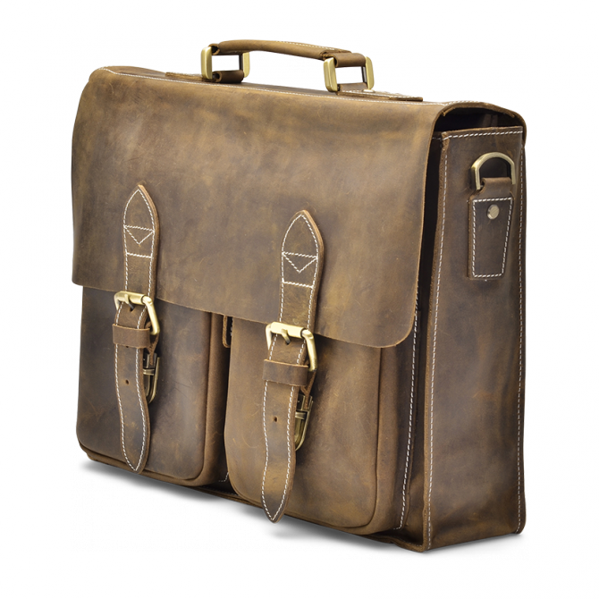 WALNUT TWO-POCKET BRIEFCASE TYRIK. - 2