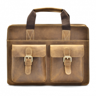 TAN TOP-LOADER BRIEFCASE