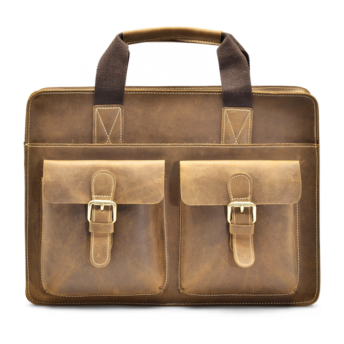 TAN TOP-LOADER BRIEFCASE FERRELL. - 1