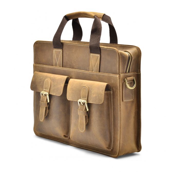 TAN TOP-LOADER BRIEFCASE FERRELL. - 2
