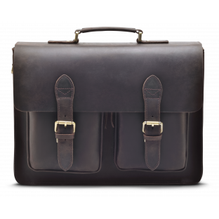 DARK BROWN TWO-POCKET BRIEFCASE