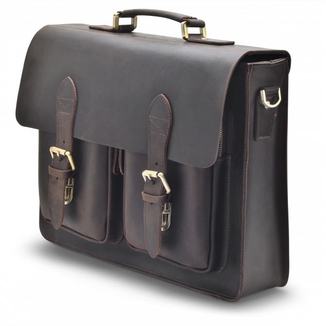 DARK BROWN TWO-POCKET BRIEFCASE JORUNN. - 2