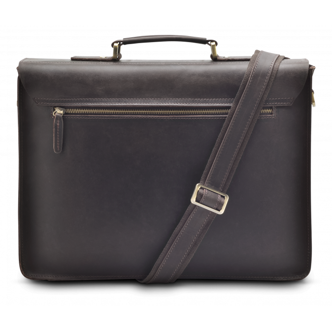 DARK BROWN TWO-POCKET BRIEFCASE JORUNN. - 3