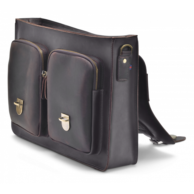 DARK BROWN TWO-POCKET BRIEFCASE JORUNN. - 4