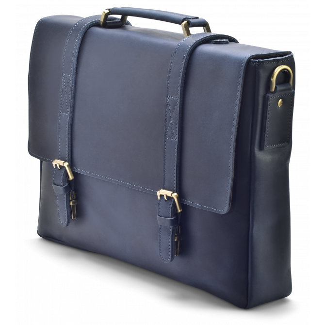 DARK BLUE ZIPPER MESSENGER BAG KARSTEN. - 2