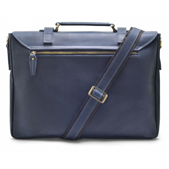 DARK BLUE ZIPPER MESSENGER BAG