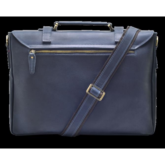 DARK BLUE ZIPPER MESSENGER BAG
