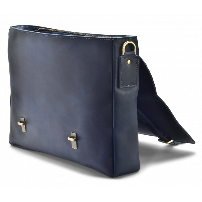DARK BLUE ZIPPER MESSENGER BAG KARSTEN. - 4