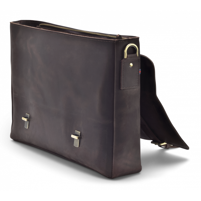 DARK BROWN ZIPPER MESSENGER BAG